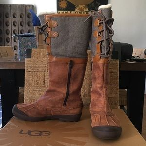 UGG Belcloud waterproof lace up shearling boots 9